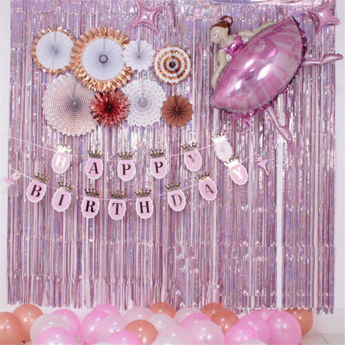 Colorful Garland Laser Backdrop Foil Curtains Party Hanging Decoration Home