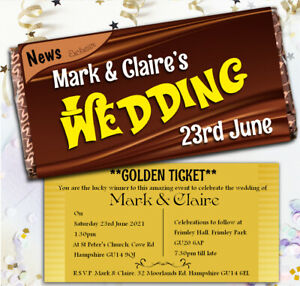 Details About Personalised Wonka Chocolate Bar Golden Ticket Wedding Invitations N55 114g