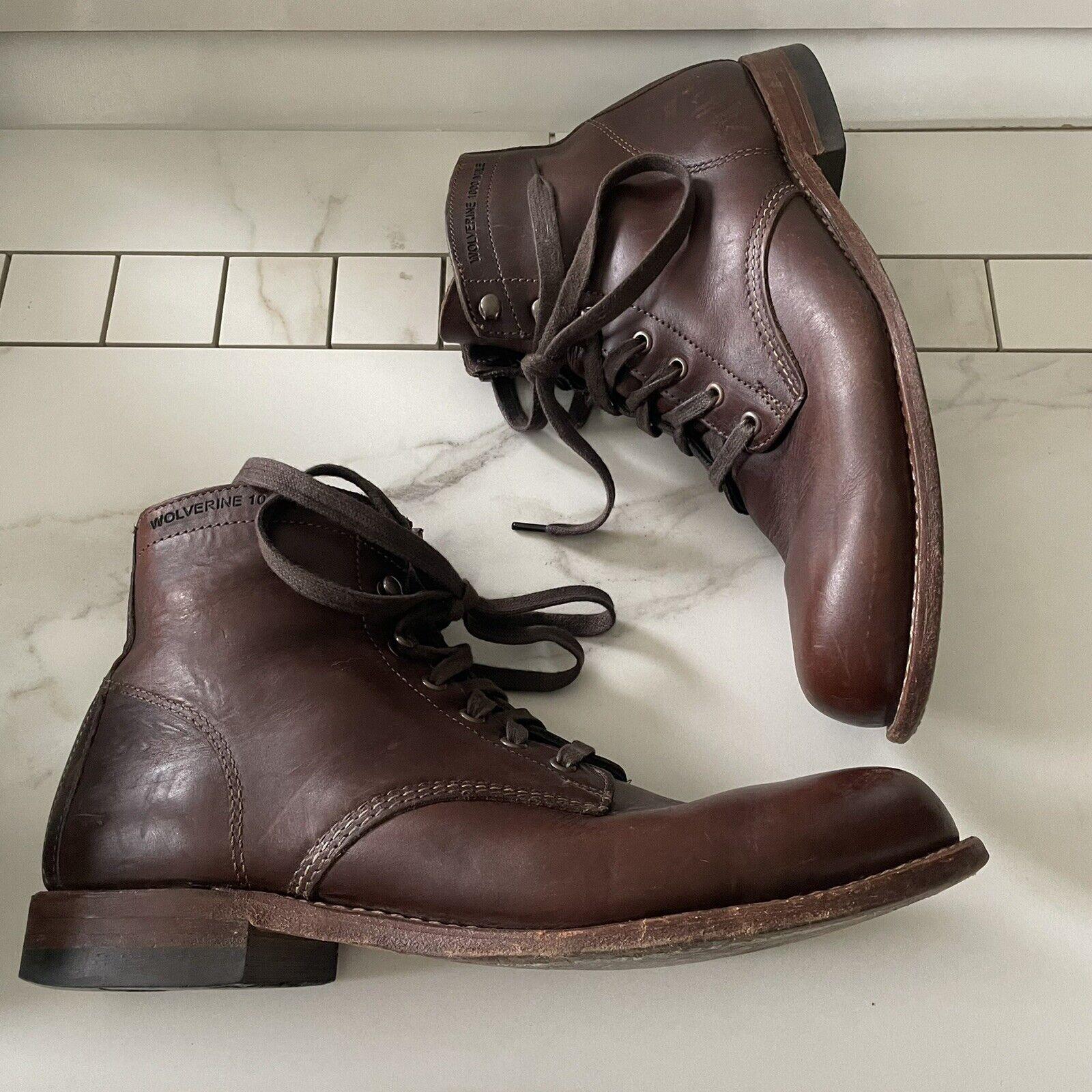 Wolverine 1000 Mile Ankle Boots Brown Leather Lace Up Plain Toe Men Size US 9.5