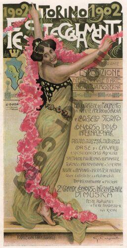 TORINO EXPO CARPUNETTO Art Nouveau original period print Magazine Cover c1900