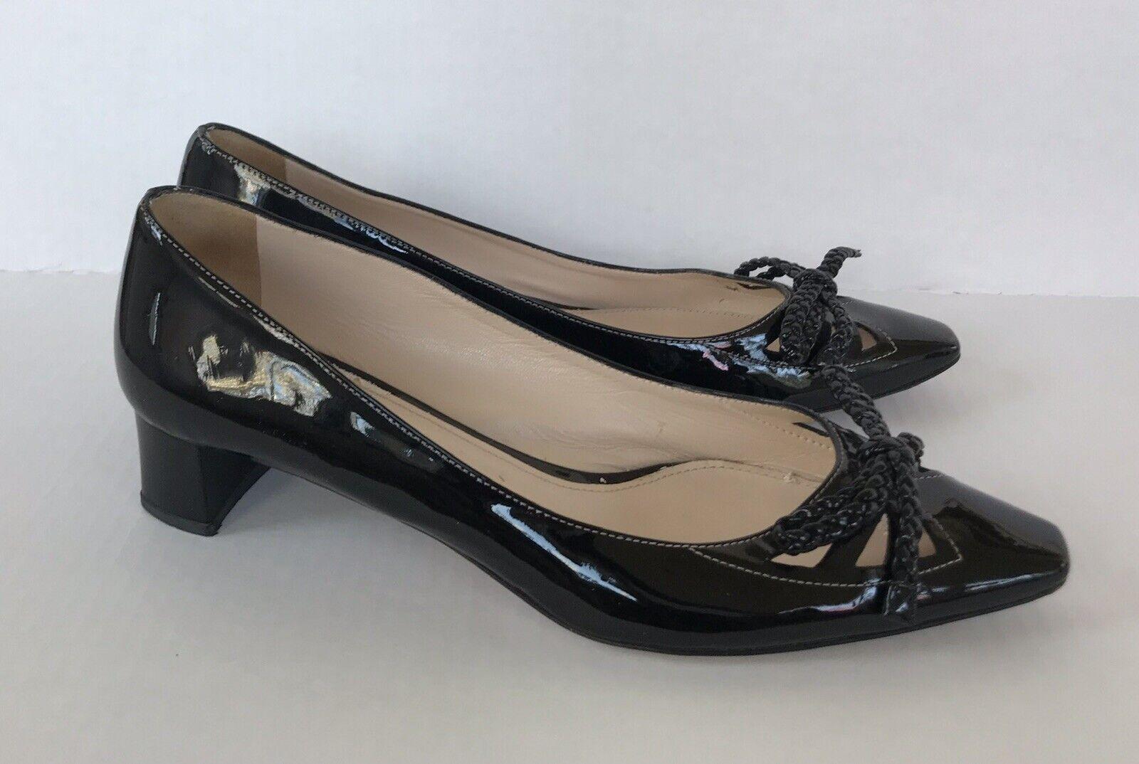 Vintage 1990s Prada Patent Leather Bow Flats Sz 39 - image 2