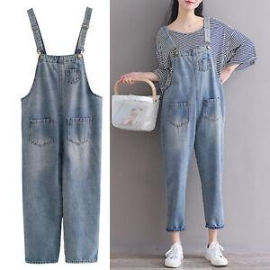 34d857f107e4 Image is loading Women-Casual-Denim-Jumpsuit-Overalls-Dungaree-Harem-Pants-