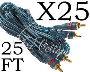 25 RCA CABLE BLUE 2 CHANNEL 12 FT FOOT GOLD PLATED FLEXIBLE For CAR STEREO HOME