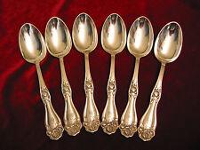 American Beauty Rose Silverplate Oval Soup Spoon Set H&E Mono Flatware Lot of 6