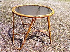 table bambou rotin ancienne 1950 verre terrasse jardin salon vintage ...