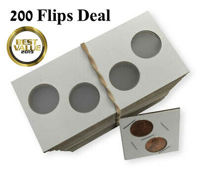 2 hole 2x2 Coin Flips Mylar 100 Cardboard Holders Penny Cent Dime P/&S Set Cowens