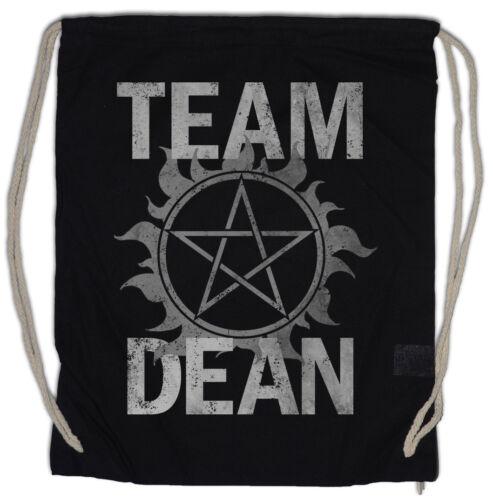 TEAM DEAN Turnbeutel Supernatural Fun Logo Pentragramm Pentacle Flaming Sam