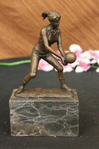 Handcraft-European-Bronze-Sculpture-Girl-Volleyball-Olympic-Sport-Game-Figurine