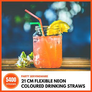 Lemon & Lime Plastic Drinking Straws - Neon,  Pack of 225