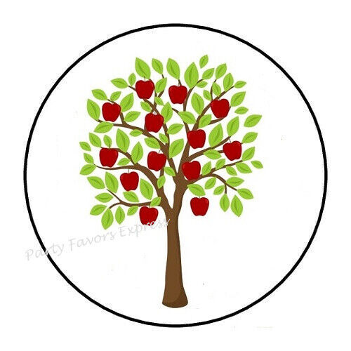 """30 APPLE TREE ENVELOPE SEALS LABELS STICKERS PARTY FAVORS 1.5/"""" ROUND"""