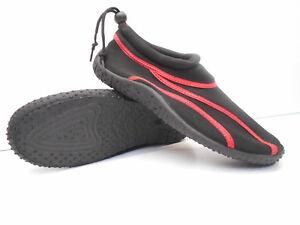 Badeschuhe-Strandschuhe-Modell-Adria-36-bis-46-Neoprenschuhe-schwarzrot