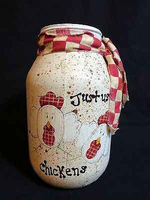Handmade Utensil Jar JUST US CHICKENS Country Farm Glass