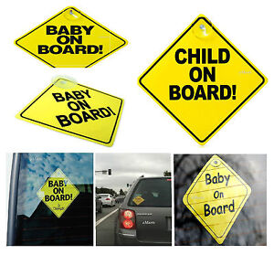 STRONG BABY ON BOARD CHILD SAFETY SUCTION CUPS CAR VEHICLE SIGNS CHILD ON BOARD