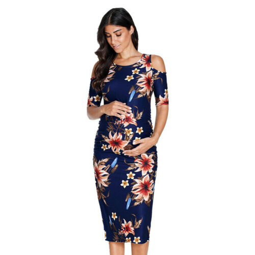 Womens Cold Shoulder Floral Pregnancy Midi Dress Maternity Party Stretch Bodycon