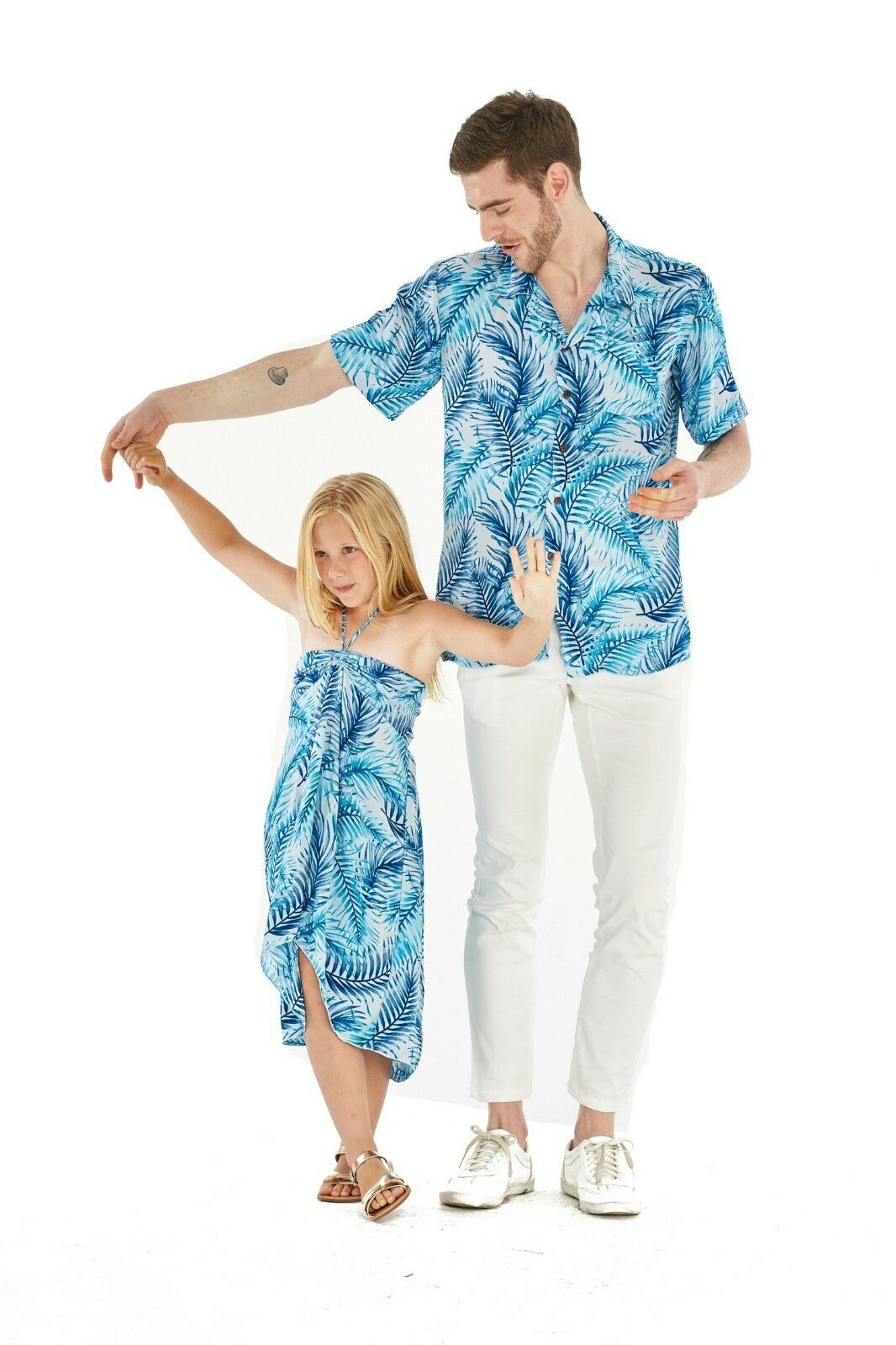 Hawaii Hangover Father Daughter Matching Luau Cruse Outfit In Simply Blue Leaves