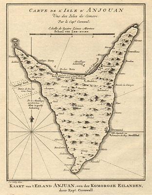 'l'lsle D'anjouan, Une Des Lsles De Comorre'. Comoros. Bellin/schley 1748 Map