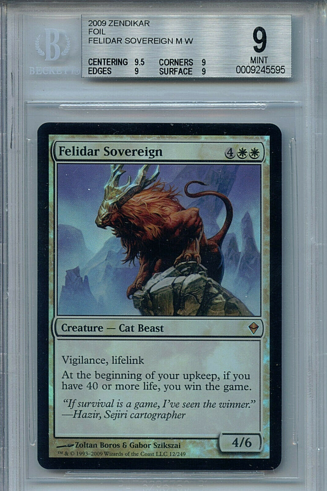Mtg felidar Sovereign BGS 9.0 (9) menta zendikar Magic Coched amricons 5595