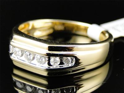 Mens 10k Yellow Gold Diamond Channel Set Wedding Engagement Band Ring 1/4 Ct