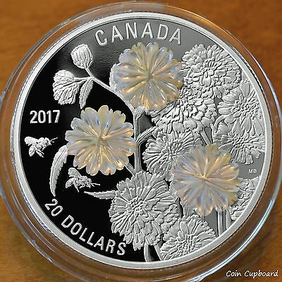 Fine Silver Canada Proof 2017 $20 Pearl Flower Mother of Pearl 1 oz 9999