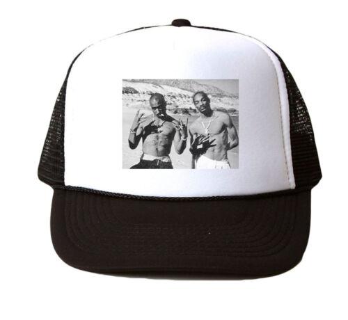 2pac et Snoop Trucker Hat Mesh Cap Snapback réglable NEUF-Noir