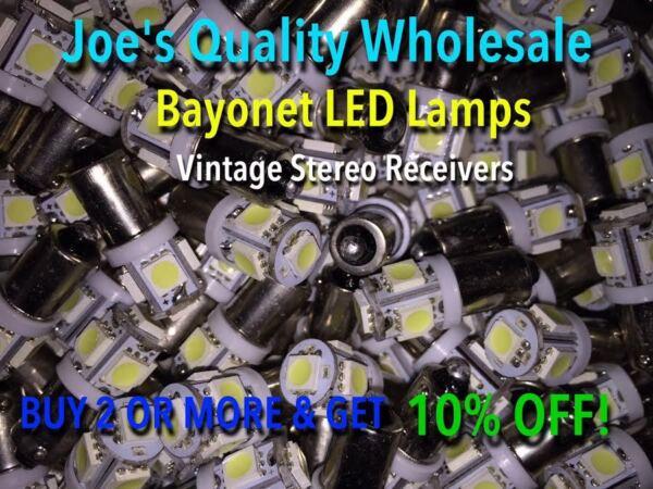 (100) Bayonet Led Lamp-6.3v/ac-color Choice !!-ba9s-amp 1847-mc/mac/mcintosh