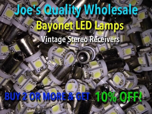 (100) BAYONET LED LAMP-6.3V/AC-COLOR CHOICE !!-BA9s-AMP 1847-MC/MAC/DIAL METER