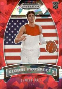 2020-21 Panini Prizm Draft Picks Global Prospects Red Ice Lamelo Ball #98 Rookie