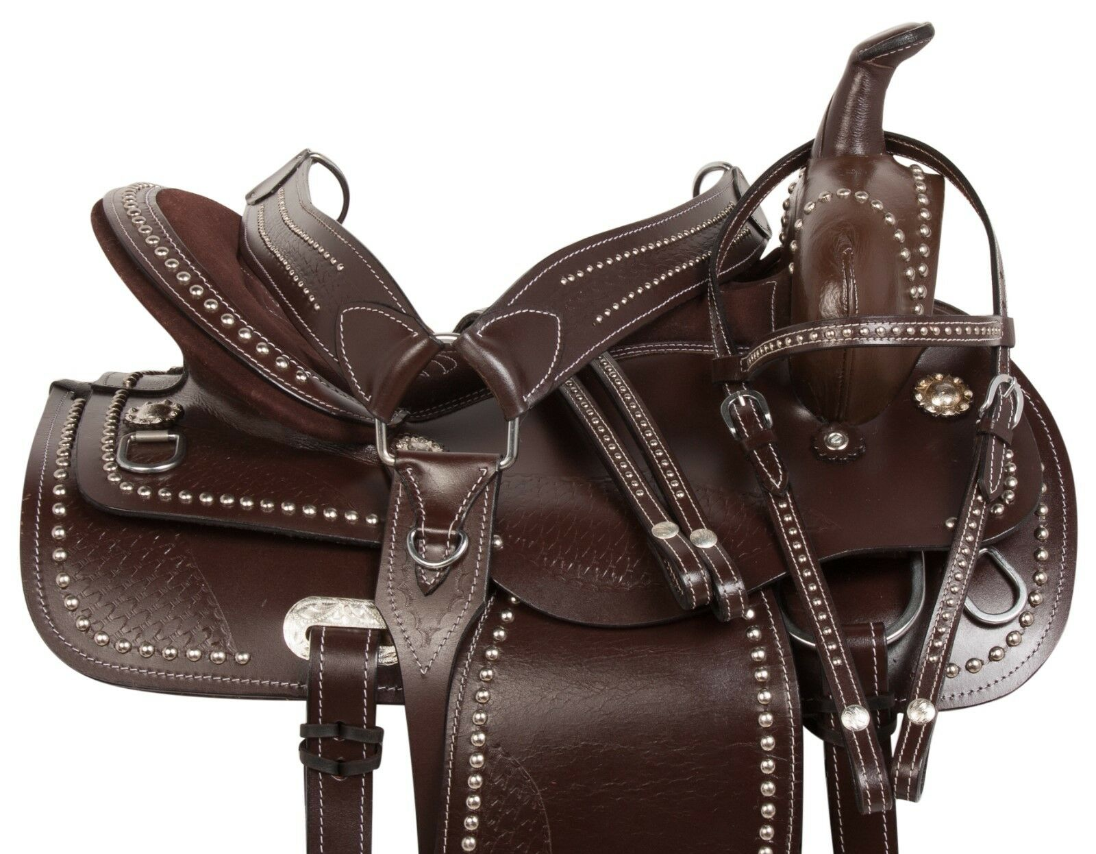 16 LIGHT WEIGHT WESTERN SADDLE BROWN LEATHER GAITED HORSE TRAIL SADDLE