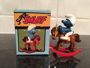 Vintage-Peyo-schleich-Rocking-Horse-Super-Smurf-Schtroumpf-Schlumpf