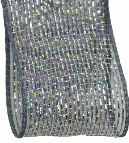 Silver Holographic Metallic Mesh Craft Ribbon 63mm Wide 1 x 2m Length Gift Wrap