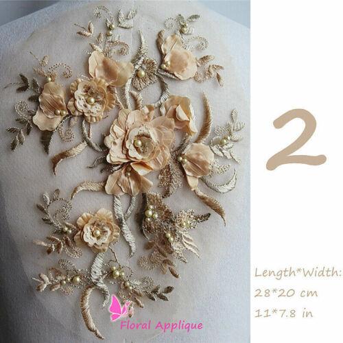 Ricamato Applicazione Perline Pizzo Floreale Toppa Orlo per Matrimonio Costume