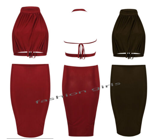 Womens New Ladies Halter Neck Two Piece Crop Top Slinky Bodycon Pencil Skirt Set