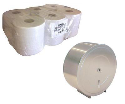 BRUSHED Mini Jumbo Stainless Steel Toilet Roll Dispenser Wall Mounted Metal KIT