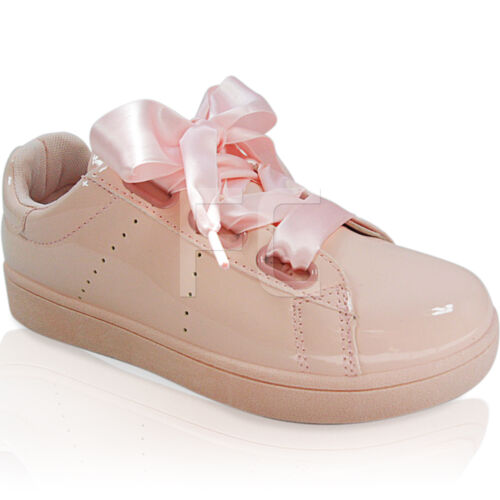 NEW WOMENS LADIES FLAT LOW RIBBON LACE UP TRAINERS PUMPS SHOES SNEAKERS SIZE