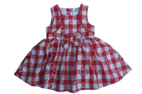 White Checked Dress With Hearts Zip Zap Fully Lined Red Up to 3//6//9 Months