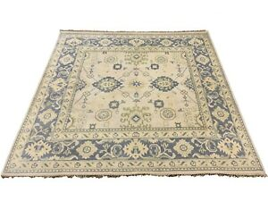 8X8-Square-Oushak-Area-Rug-Ivory-Hand-Knotted-Wool-Oriental-Carpet-7-9-x-7-9