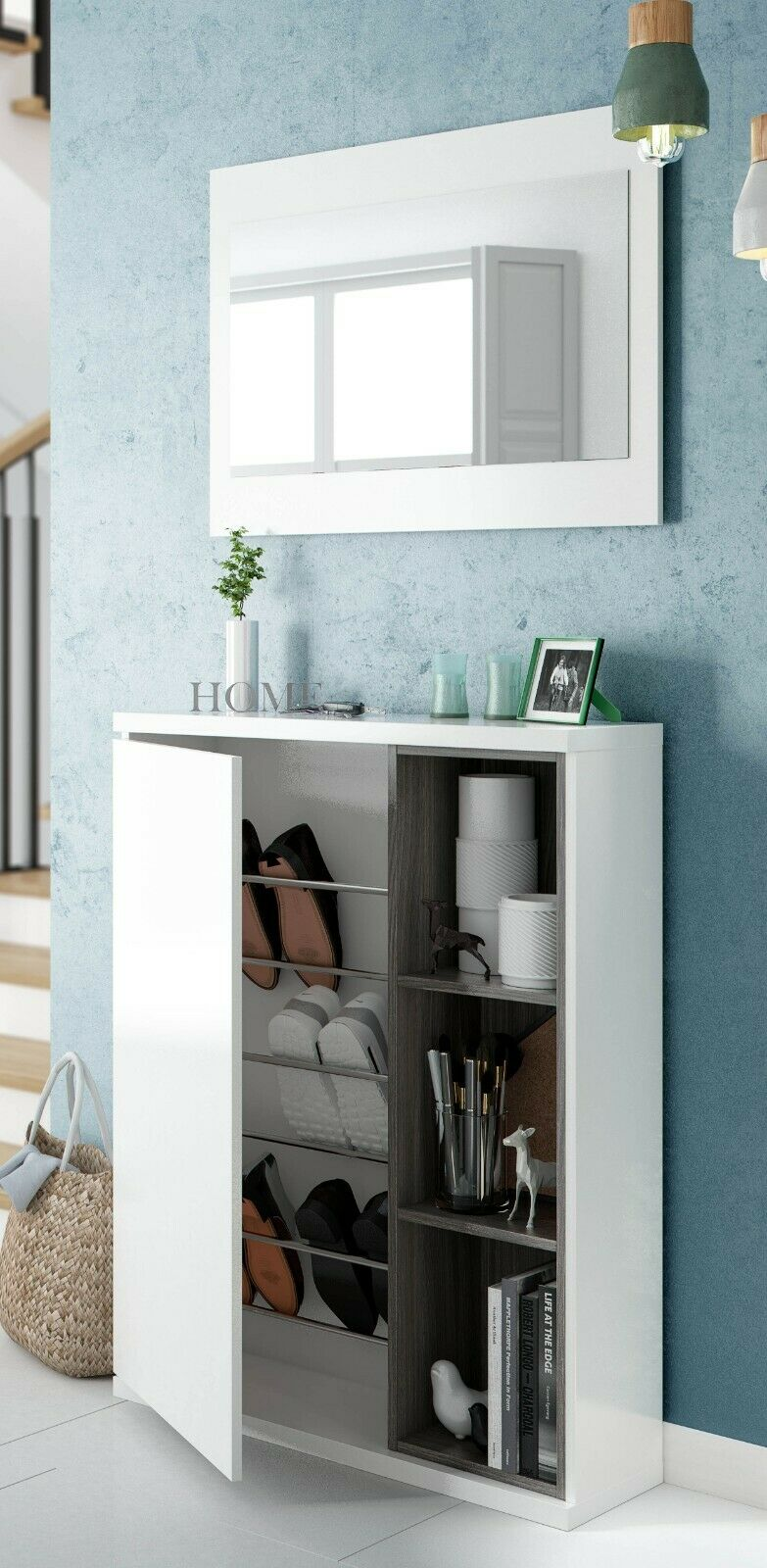 s l1600 - Recibidor zapatero moderno + espejo varios huecos color blanco brillo
