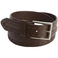 Brown John Deere Stitched Leather Belt Casual Jeans 34 36 38 40 42