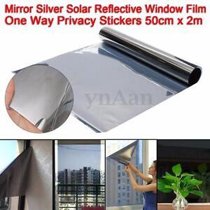 2m x 50cm one way mirror window film silver solar for 2 way privacy window film