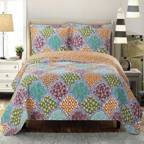 Vibrant Dahlia Reversible Floral Bed Quilt Sets; Hypoallergenic 100/% Microfiber