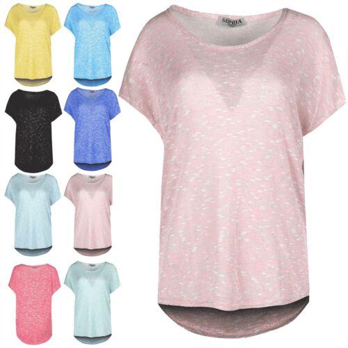 Womens Marl Effect Baggy Top Ladies Hi Lo Dip Hem Oversized Batwing Tee T Shirt