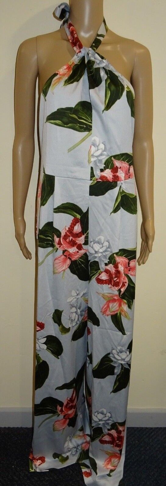 Mango Women's  Floral halter Jumpsuit Sky bluee Size Medium VR50 09