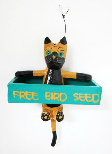 """Novelty Bird Feeder in shape of a hanging cat holding as sign /"""" Free Birdseed/"""""""
