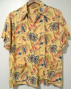 Rare VTG 40s 50s Royal Palm Hotel in Miami Print Hawaii Tiki Cabana Rayon Shirt