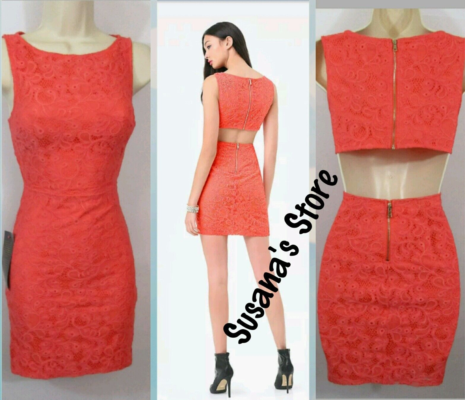 NWT BEBE LACE CUTOUT DRESS SIZE L Desk-to-dinner mesh lace dress with a sexy c