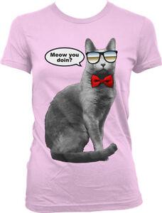 Meow You Doin Cat Sunglasses Bow Tie How Doing Wearing Joke