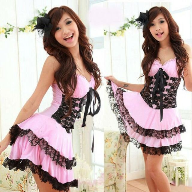 Sexy Lolita Princess Dress Costume for Cosplay & Halloween Party (Pink or Black)