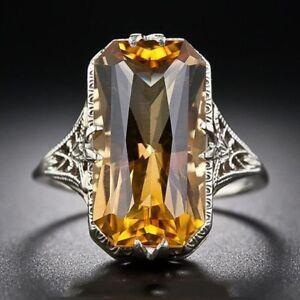 925 Sliver Ring Citrine Jewelry Wedding Engagement Anniversary