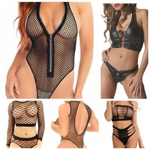 57a14bf28f0 Image is loading Women-Sexy-Lingerie-Mesh-Fishnet-Jumpsuit-G-string-