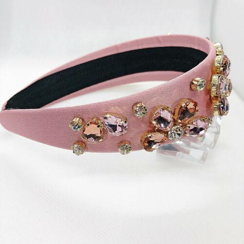 Wide Pink Floral Embellished Headband Rhinestone Jewelled Hairband Festival
